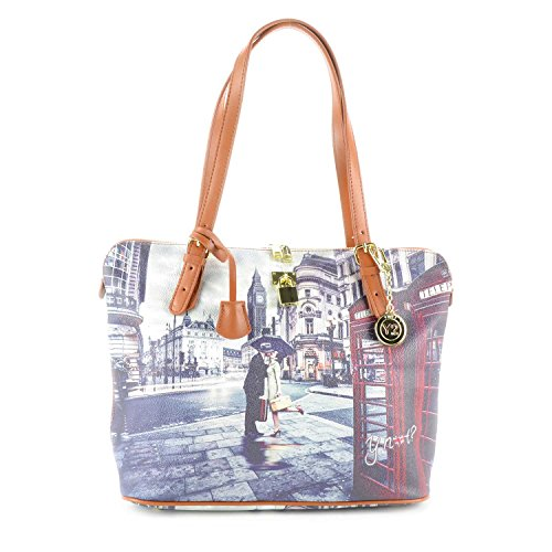 Y NOT? - Borsa shopper donna clip manici shopping medium g-377 londra romantic