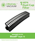 Bissell Style 15 Replacement HEPA Filter, Compare to Bissell Part # 3282, 203-6937, 2036937, 011120006223, 0-11120-00622-3, Designed & Engineered by Crucial Vacuum