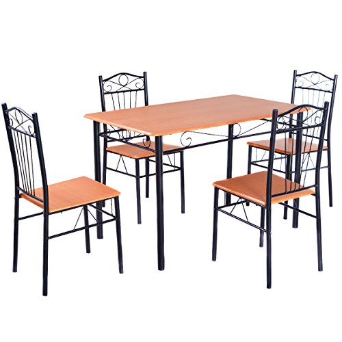 Tangkula Steel Frame Dining Set Table and Chairs Kitchen Modern Furniture Bistro Wood (Bistro Tables And Chairs compare prices)