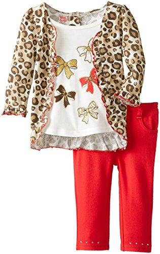 Young Hearts Baby Girls' 2 Piece Animal Print Bow Pant Set, Light Beige, 24 Months