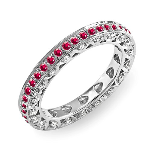 White Gold Diamond & Ruby Eternity Anniversary Wedding Ring