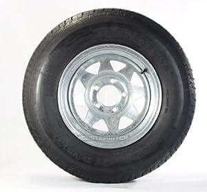Radial Trailer Tire + Rim ST205/75R14 205/75-14 14 5 Lug Wheel Galvanized Spoke