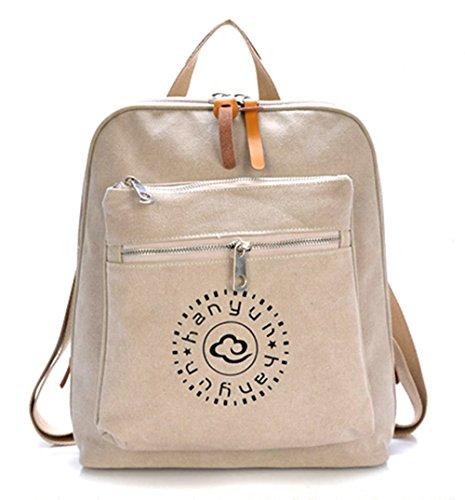 kiss-goldtm-mochila-bolso-de-escuela-mochila-de-lona-doble-capa-casualbeige