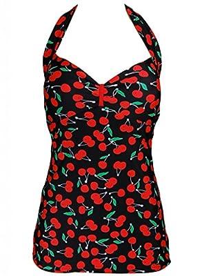 PinupClothingOnline Women's Cherry Retro Halter Neck Rockabilly Swimsuit