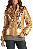 Ed Hardy Womens Skulls and Roses Down Puffer Jacket - Gold