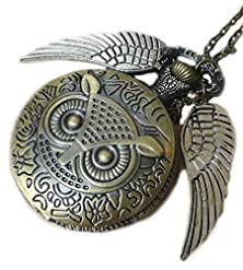 buy Steampunk Owl Pocket Watch Pendant Necklace Antique Retro Neo Victorian - Harry Potter Flying Owl Pocketwatch Charm