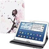 kwmobile HOUSSE EN CUIR SYNTHÉTIQUE 360° premium Motif fée pour Samsung Galaxy Tab 3 10.1 P5200 / P5210 / P5220 Blanc avec fonction support pratique signée et Auto Sleep / Wake Up