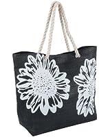 Flower Print Shoulder / Beach / Shopping Bag ~ Pink, Black or Dark Blue