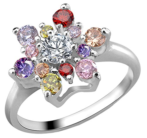 Ylr Women'S Alloy Pink-Sapphire Engagement Finger Ring Size 11 Silver
