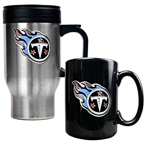 Tennessee Titans Stainless Steel Travel Mug & Black Ceramic Mug Set by Great American Products