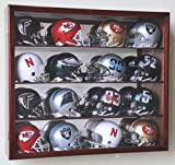 Riddell Mini Helmet Display Case Cabinet Wall Rack w/UV Protection & Mirror Back -Cherry