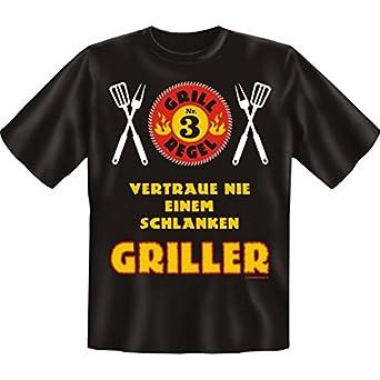 Geniales Sprüche T-Shirt Vertrau nie einem schlanken Griller Größe XXL Farbe schwarz
