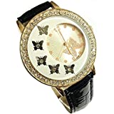 Women Butterfly Pattern Crystal Quartz Wrist Watch Black