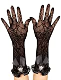 Gothic Net Gloves with Spider and Ruffles black