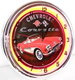 "Chevy Corvette 15"" Neon Light Clock Sign Parts Garage Bowtie Emblem Logo 1958 Red"