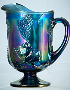 1970s - Indiana Carnival Glass Pitcher - Harvest Grape - Irridescent Blue Water / Lemonade Carnival Glass Pitcher - On Pedestal Base - Remarkable Condition - Rare - Very Collectible