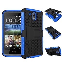For HTC Desire 526G+, Urvoix(TM) Hybrid Heavy Duty Dual Layer Shock Proof Rugged Shell Grenade Grip Tyre Textured Kickstand Case Cover Blue