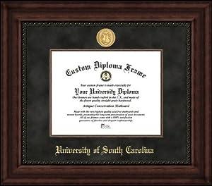 University of South Carolina Gamecocks - Gold Medallion - Suede Mat - Mahogany -... by Laminated Visuals