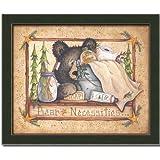 Bear Cabin Bath Room Country Decor Art Print Framed