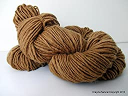 Organic Natural Real Oak Colour, Hand Spun, Pure Handmade Wool, Non Toxic, Hand Painted, Non intensively Farmed. Natural Brown Plant Colour