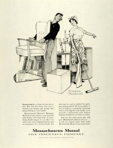 1959 Ad Massachusetts Mutual Life Insurance Norman Rockwell Art Couple Cleaning - Original Print Ad