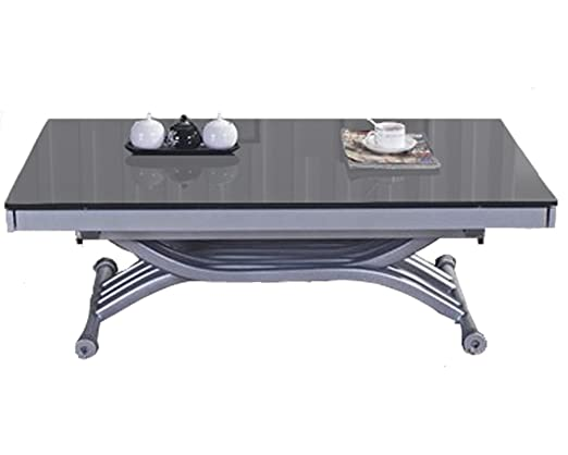 Table basse relevable à allonges Zen - Verre Gris