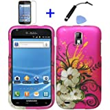 (4 items Combo: Stylus Pen, Screen Protector Film, Case Opener, Graphic Case) Pink White Hawaiian Flower Green Vine Design Rubberized Snap on Hard Shell Cover Faceplate Skin Phone Case for (T-Mobile) Samsung Galaxy S2 / SII/ II/ 2 / T989