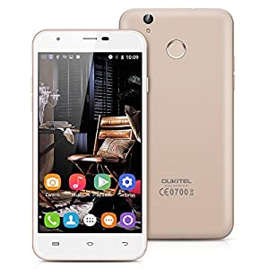Oukitel U7 Plus 5.5 inch LTPS HD Screen 4G Network Android 6.0 Smartphone Dual SIM Dual Standby MT6737 Quad Core 2G RAM 16G ROM Mobile Phone Fingerprint ID Smart Wake Gesture Motion Cellphone (Champagne Gold)