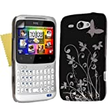 HTC ChaCha Black Silver IMD Hard Hybrid Back Case Cover And Screen Protectorby Yousave Accessories