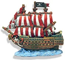 Exotic Environments Caribbean Pirate Ship Aquarium Ornament, 6-Inch by 3-1/2-Inch by 5-1/2-Inch