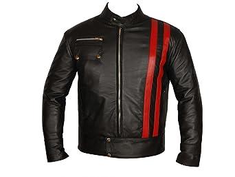 AZ Smart Cafe Racer Veste en cuir Style Rayures/moto en cuir de qualité supérieure
