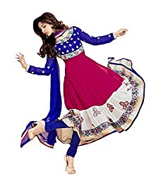 Fashion Fast Women's Branded Indian Style Georgette Pink & Blue Semi-Stitched Salwar Suit ( Best Gift For Mom, Wife, Sister )
