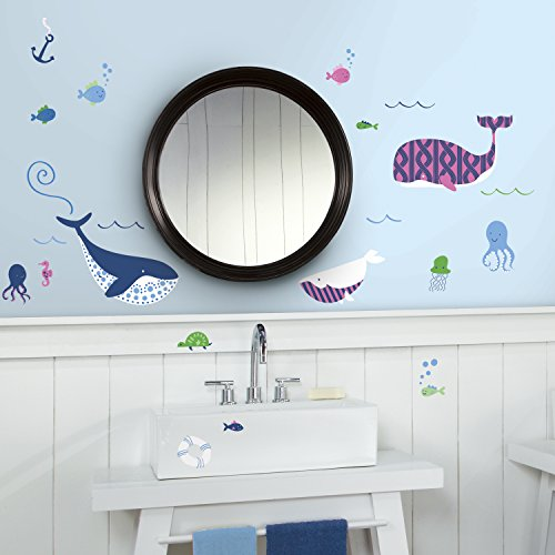 RoomMates RMK3158SCS Sea Whales Peel and Stick Wall Decals
