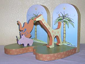 John Lennon Wooden Bookends - Real Love - Elephant, Giraffe, Rhinocerous