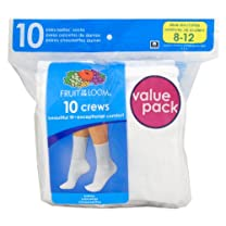 Fruit of the Loom Women's Plus-Size Socks - White (10 Pack)