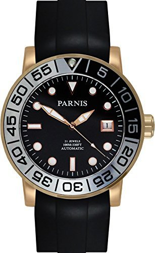 PARNIS Automatikuhr Modell 3231 MIYOTA-SPORT Herrenuhr Ø 42mm 316L Edelstahl vergoldet Saphirglas verschraubte Krone 10BAR wasserdicht Kautschuk-Armband Automatik-Uhrwerk Miyota Kaliber 821A