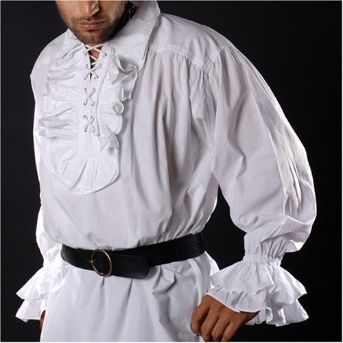 ThePirateDressing Pirate Gothic Renaissance Medieval Costume Shirt (Small/Medium, White)