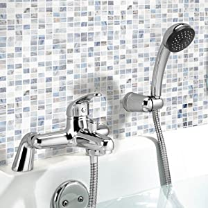 Sleek Modern Bathroom Chrome Bath Filler Mixer Tap with Hand Held Shower
