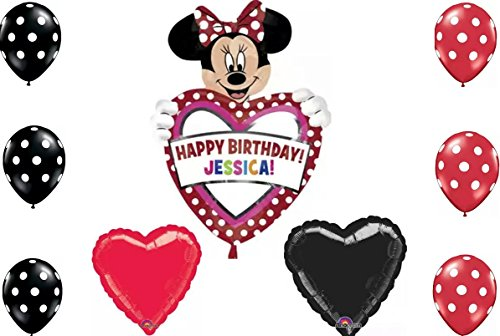 Disney Minnie Mouse Happy Birthday Personalize Your Childs Name Balloon Bouquet - 1