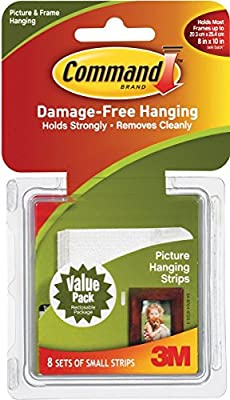 Command Picture Hanging Strips, Small, White, 8-Strip