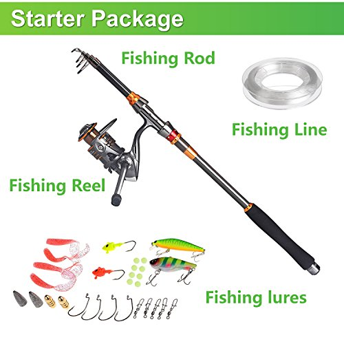 Plusinno travel spinning fishing rod combos carbon for Saltwater fly fishing combo