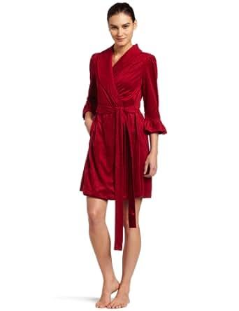 Oscar De La Renta Womens Such A Flirt Short Robe, Garnet, Medium