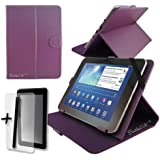 """Purple PU Leather Case Cover Stand for CAMBRIDGE SCIENCES StarPAD 7SE 7"""" 7 INCH TABLET PC + Screen Protector + Stylus Pen"""