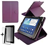 "Purple PU Leather Case Cover Stand for PRESTIGIO MULTIPAD 8.0 PRO PRIME & ULTRA DUO 8"" 8 INCH ANDROID TABLET PC + Screen Protector + Stylus Pen"