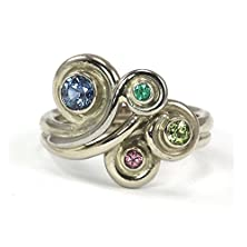 buy Low Profile Mother'S Ring Wave Ring - 14K Palladium White Gold, 14K Yellow Gold, 14K Rose Gold - Grandmothers Ring Family Ring - Natural Gemstone Birthstones - Unique, Non-Traditional - Handmade