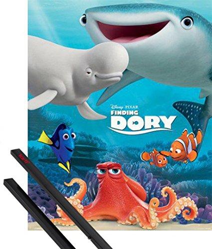 Poster + Sospensione : Alla Ricerca Di Dory Mini Poster (50x40 cm) Friend Group e Coppia di barre porta poster nere 1art1®