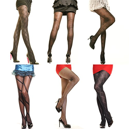 Angelina Patterned Pantyhose. 6 Assorted Designs in 1 Pack. (Designs May Vary)