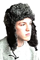 7headz Fully Lined Black Weatherproof Warm Faux Fur Trapper Hat for Men and Women