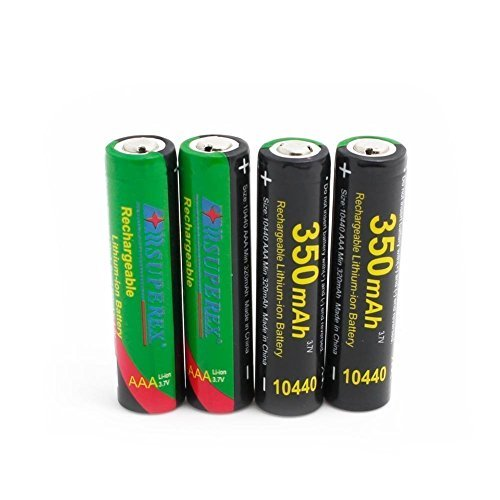 SUPEREX® 10440 Batteries (AAA) 3.7V 350mAh Li-ion rechargeable au lithium dans le PP Transparent Case-Paquet de 4