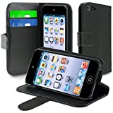 eForCity Leather Wallet Case with Card Holder for iPod touch 5G, Black